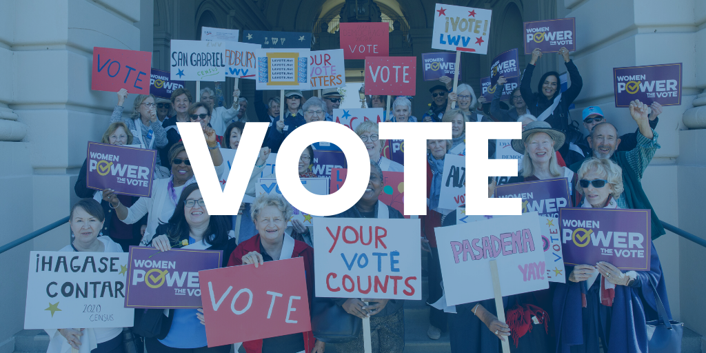 Photo of a group holding up signs related to voting that has the word vote overlayed
