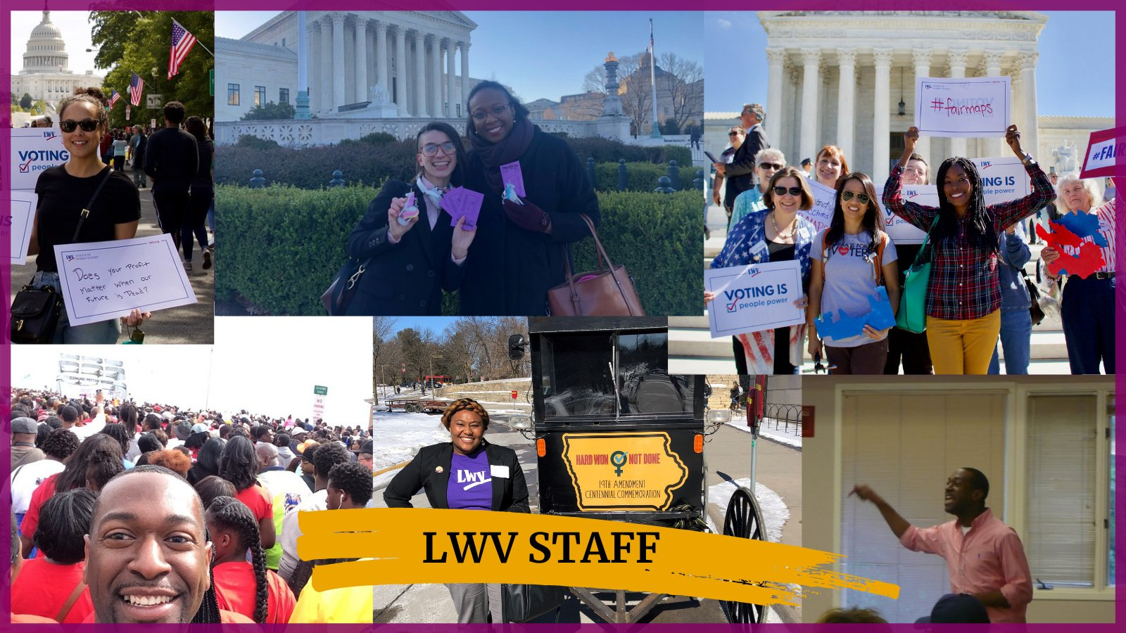 Pictures of Black LWVUS staff at rallies and events