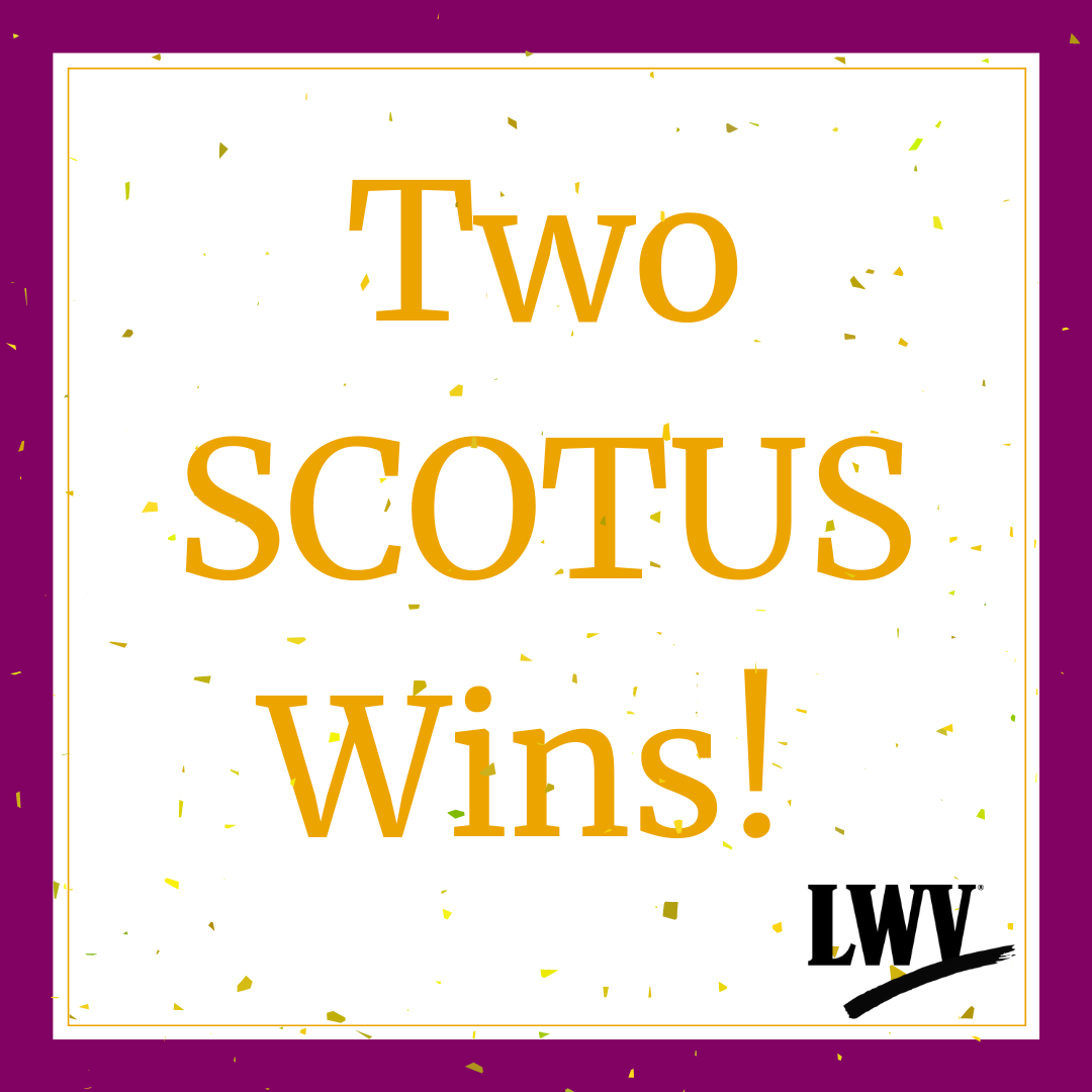 White graphic with a purple boarder. Yellow words that say Two SCOTUS WINS! With confetti covering the page