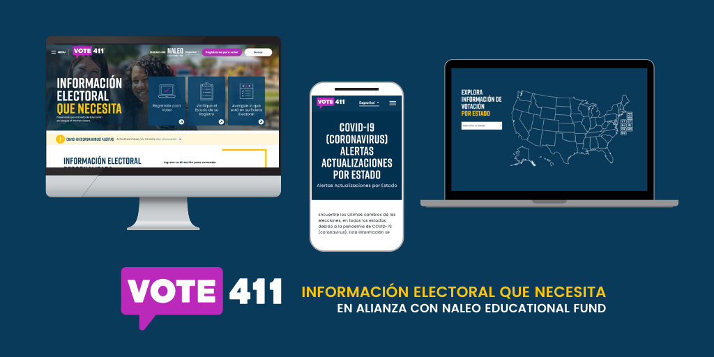 Blue image with images of a computer screen, laptop, and smartphone on VOTE411.org/es with the VOTE411 logo in Spanish