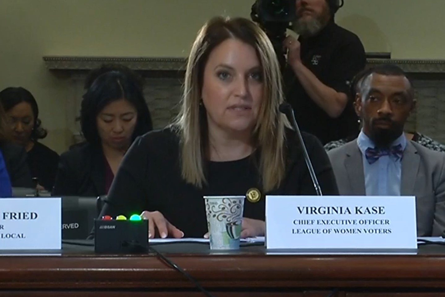 Virginia Kase testifying before Congress