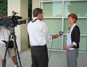 Elisabeth during an interview with local reporter